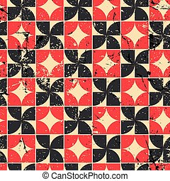 Vintage bright red and black geometric seamless pattern,...