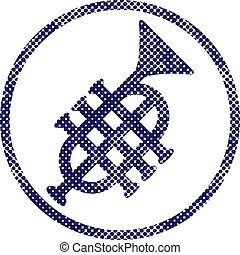 Music pipe icon with halftone dots print texture. Macro...