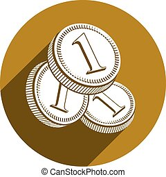 Coin vector icon isolated.
