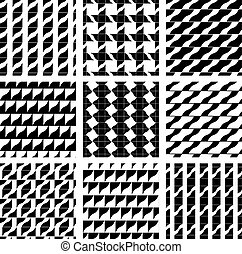 Set of grate seamless patterns with geometric figures,...