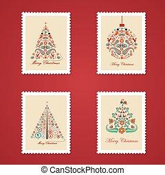 Set of colorful Christmas Postage s