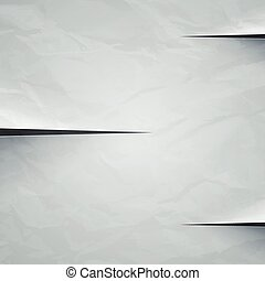 White crumpled paper cut background. RGB EPS 10 vector...