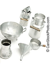 vintage old kitchen ustensils - vintage old metallic kitchen...