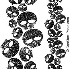 Skulls seamless pattern, horror and hard rock theme repeating ba
