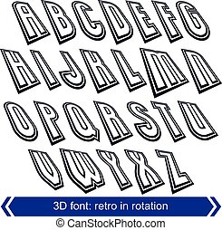Outlined rotated vector font, monochrome