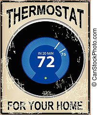 Old card with a thermostat