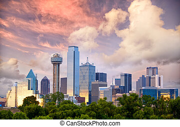 Dallas at sunset - Dallas City skyline at sunset, Texas, USA