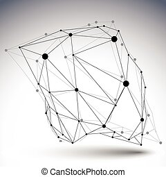 Geometric black and white polygonal structure with wire...