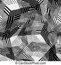 Contrast geometric messy squared seamless pattern, vector...