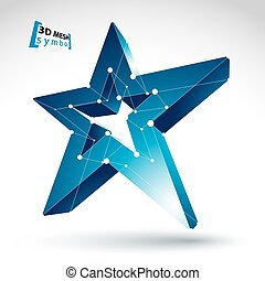3d mesh blue star sign isolated on white background, colorful el