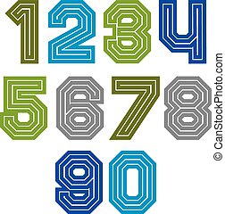 Colorful regular acute-angled digits, bright vector straight...