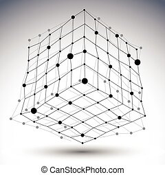 Spatial vector black and white digital eps8 object, contrast...