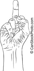 Middle finger hand sign, detailed black and white lines...