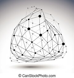 Black and white distorted 3D abstract object with lines and...