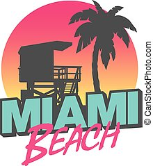 Miami Beach - Colorful symbol of Miami beach with the famous...