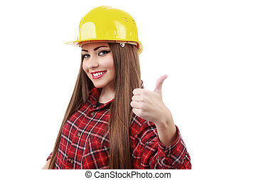 young engineer with helmet showing ok sign