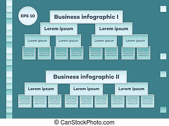 Blue business infographic charts - Two business multilevel...