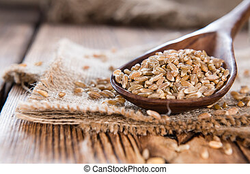 Spelt on a wooden spoon - Portion of Spelt on a wooden spoon...
