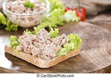 fatia, de, pão, com, Atum, salada,