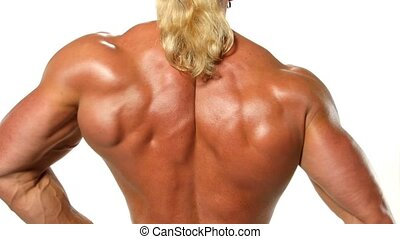 Very muscular back guy on white background