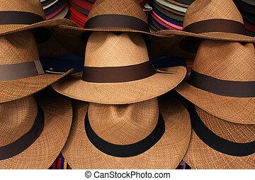 Panama Hats at the Market - Handmade panama hats for sale at...