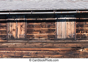 Hut - Wooden Hut in Austria with shutters closed.