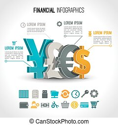 Financial infographic set with 3d currency exchange signs...