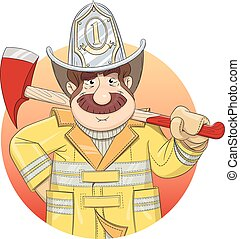 Fireman in uniform with ax Eps10 vector illustration...