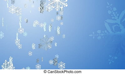 Snow flakes blue - Render blue background and snow flakes...