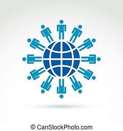 população, de, a, mundo, vetorial, sociedade,...
