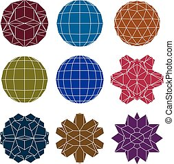 Collection of 9 single color complex dimensional spheres and abs