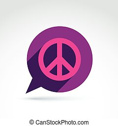Chat on peace theme Antiwar vector icon, speech bubble with...