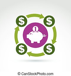 Vector banking symbol, financial system icon Personal...