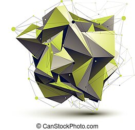 Cybernetic asymmetric stylish construction, light green abstract
