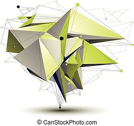 3D vector abstract design object, polygonal complicated...