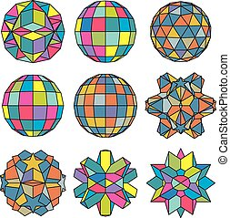 Collection of 9 complex dimensional spheres and abstract geometr