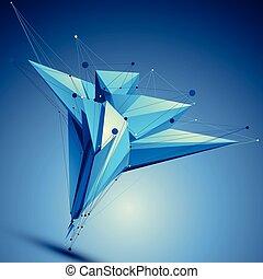 Blue contemporary technological asymmetric construction,...