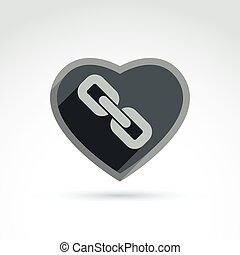 Vector heart with link symbol, love relationship idea. Marriage