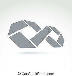 3d white infinity symbol with geometric parts, illustration...