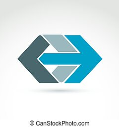 Vector abstract emblem with blue arrow – right, direction sign
