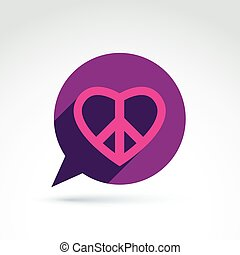 Chat on peace and love theme. Antiwar and love vector icons,...