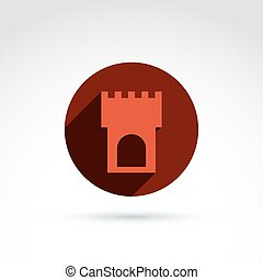 Vector illustration of tower, historical monument symbol, ancien