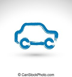 Hand drawn blue car icon, illustrated brush drawing...