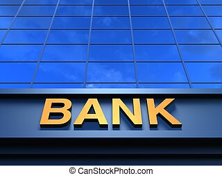 Bank building - Modern building with an inscription Bank on...