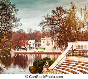 Lazienki Park with Roman inspired theater and Palace on the...