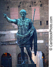 Caesar Augustus Statue in Front of Trajan\'s Ancient Market...