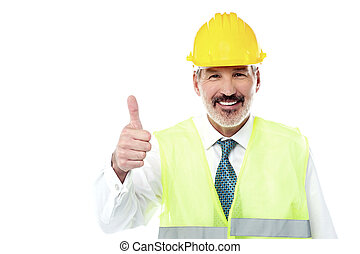 Awesome work team, go ahead - Happy engineer with hardhat...