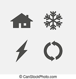 ecology and calefaction icon set