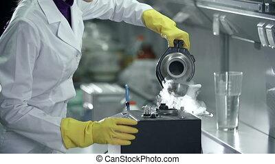 Mineral Separation Laboratory - Unrecognizable female...