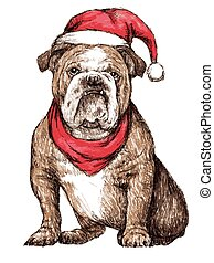 bulldog with christmas hat - hand drawn vector of bulldog...